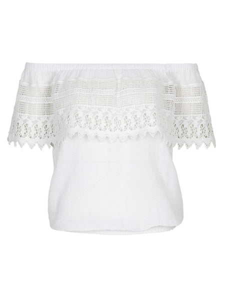 Patchwork Lace Off Shoulder Shirt - Bychicstyle.com