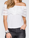 ByChicStyle Patchwork Lace Off Shoulder Shirt - Bychicstyle.com