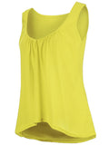 ByChicStyle High-Low Scoop Neck Plain Sleeveless T-Shirt - Bychicstyle.com