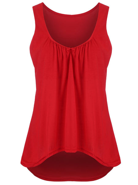 High-Low Scoop Neck Plain Sleeveless T-Shirt - Bychicstyle.com