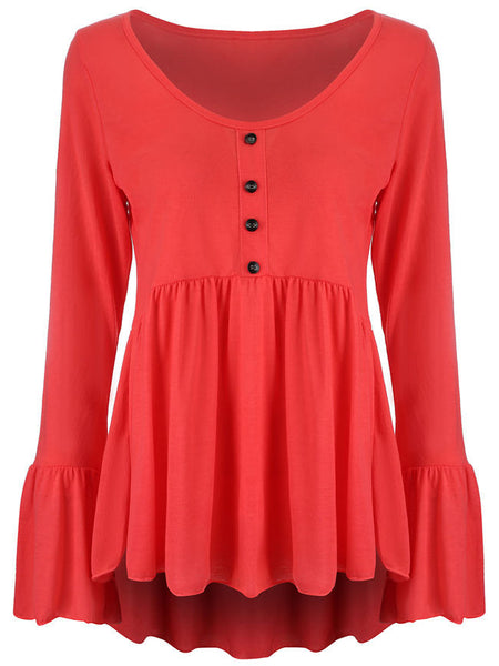 Ruffled Hem Plain Bell Long Sleeve T-Shirt - Bychicstyle.com