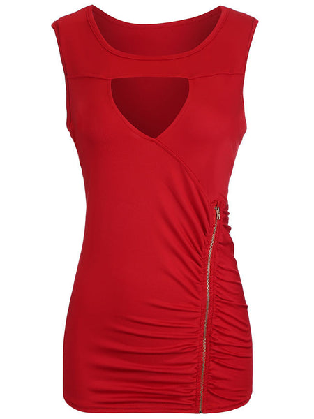 Ruched Zips Keyhole Solid Sleeveless T-Shirt - Bychicstyle.com