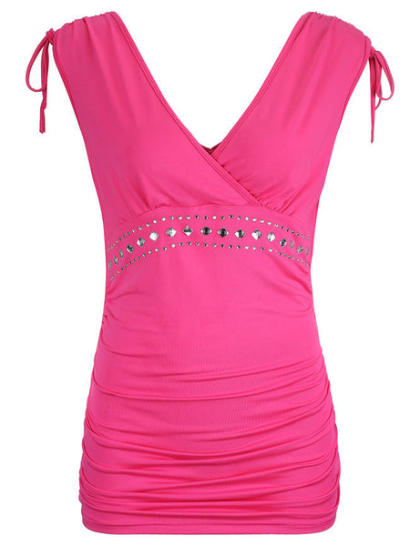 Deep V-Neck Ruched Solid Rhinestone Sleeveless T-Shirt - Bychicstyle.com