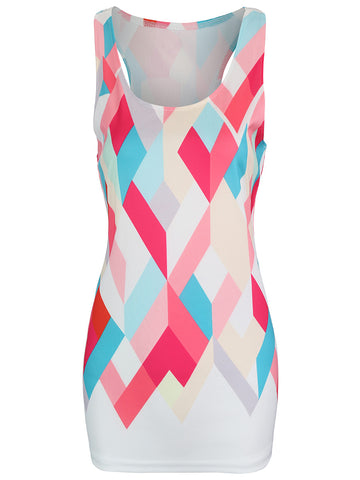 Color Block Geometric Racerback Sleeveless T-Shirt - Bychicstyle.com