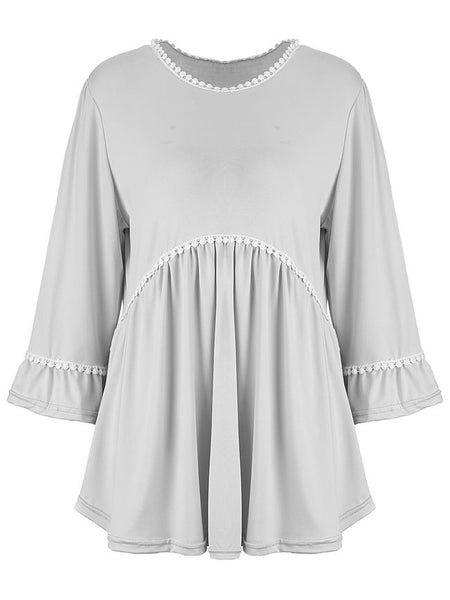 Loose Ruffled Hem Plain Round Neck Long Sleeve T-Shirt - Bychicstyle.com
