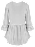 ByChicStyle Loose Ruffled Hem Plain Round Neck Long Sleeve T-Shirt - Bychicstyle.com