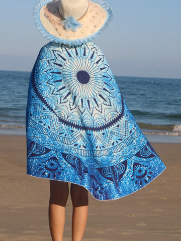 Blue Floral Printed Round Beach Shawl - Bychicstyle.com
