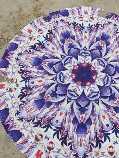 Casual Purple Floral Printed Round Shawl Beach Blanket