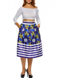 ByChicStyle Casual Vintage Printed Striped Pocket Flared Midi Skirt