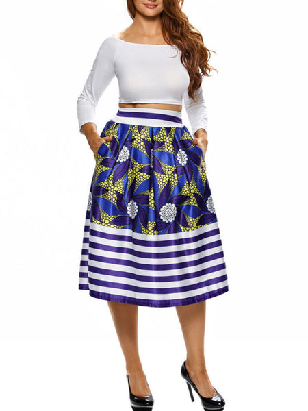 Casual Vintage Printed Striped Pocket Flared Midi Skirt