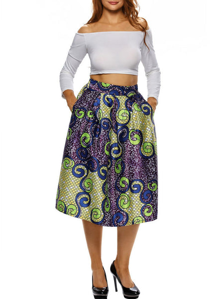 Special Printed Pocket Flared Midi Skirt - Bychicstyle.com
