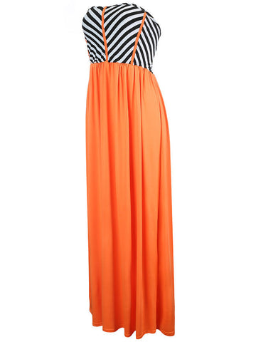 Casual Attractive Strapless Striped Swing Maxi Dress