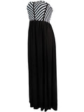 ByChicStyle Casual Attractive Strapless Striped Swing Maxi Dress