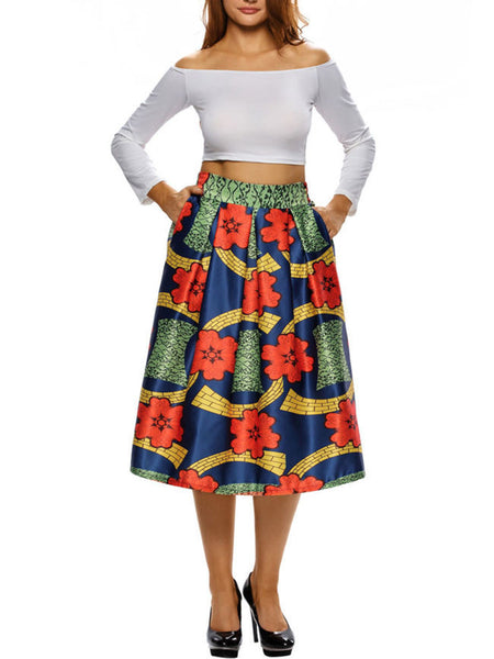 Color Block Printed Pocket Flared Midi Skirt - Bychicstyle.com
