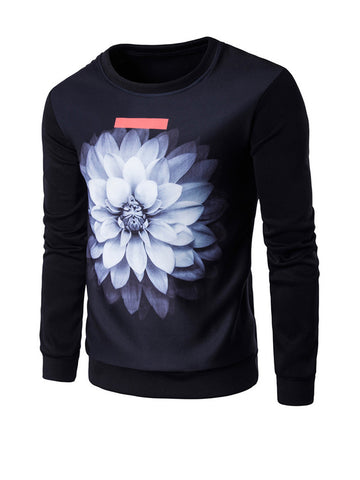 Casual Attractive Round Neck Flower Printed Men Sweatshirt