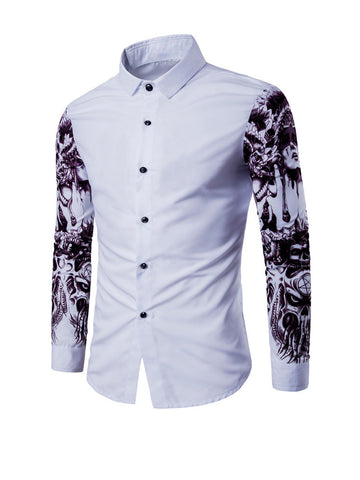 Special Trendy Printed Turn Down Collar Men Shirt - Bychicstyle.com