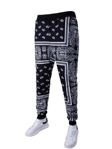 Paisley Tribal Printed Drawstring Slim-Leg Men's Casual Pant - Bychicstyle.com