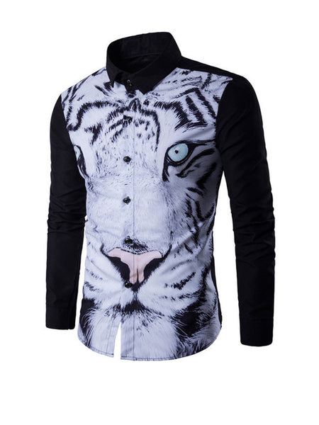 Stylish Tiger Printed Turn Down Collar Men Shirt - Bychicstyle.com