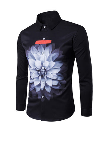 Turn Down Collar Special Flower Printed Men Shirt - Bychicstyle.com