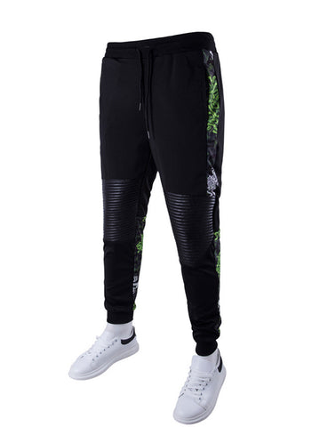 Patchwork Printed Slim-Leg Mid-Rise Men's Casual Pant - Bychicstyle.com
