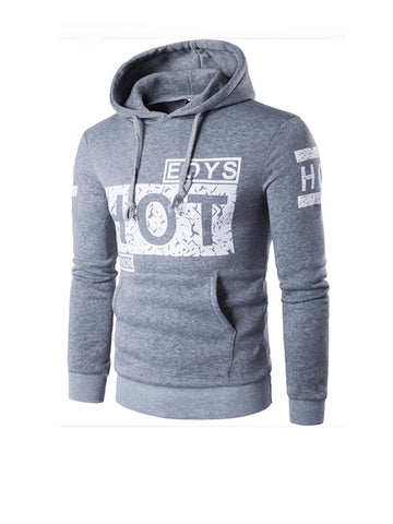 Suitable Kangaroo Pocket Letters Printed Men Hoodie - Bychicstyle.com