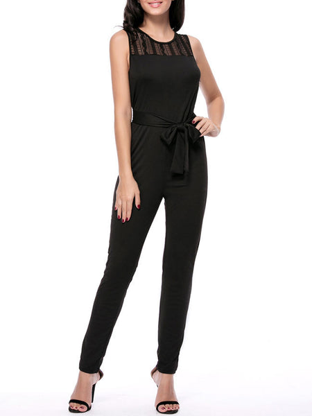 Round Neck Hollow Out Solid Slim-Leg Jumpsuit In Black - Bychicstyle.com