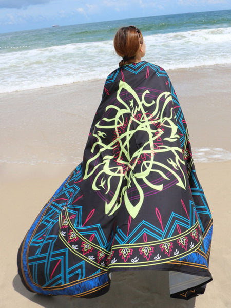 Geometric Squared Long Beach Shawl Beach Blanket - Bychicstyle.com