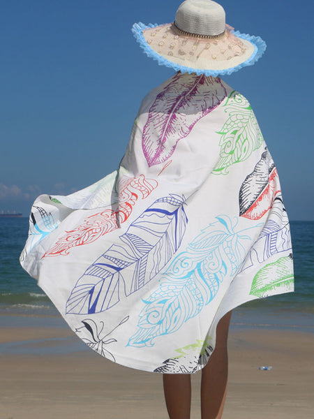 Feather Printed Round Beach Shawl - Bychicstyle.com