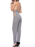 ByChicStyle Strappy Halter Backless Striped Slim-Leg Jumpsuit - Bychicstyle.com