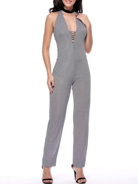 Strappy Halter Backless Striped Slim-Leg Jumpsuit - Bychicstyle.com