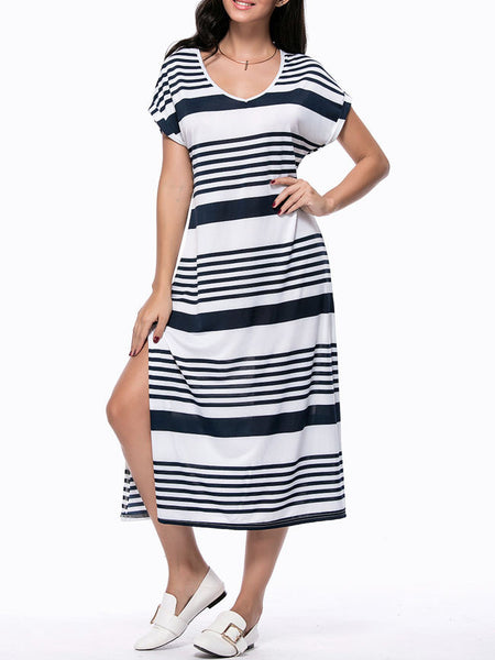 Loose Striped Deep V-Neck Side Slit Maxi Dress - Bychicstyle.com