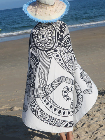 Casual Abstract Printed Round Beach Shawl