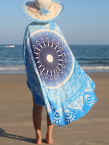 Blue Gradient Boho Round Beach Shawl - Bychicstyle.com