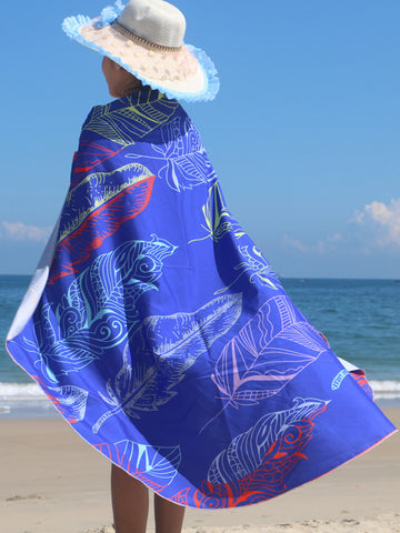 Blue Feather Round Beach Shawl Beach Blanket - Bychicstyle.com