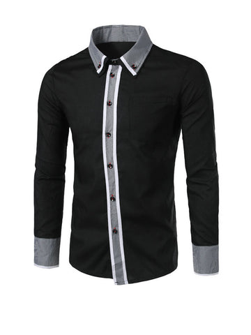 Contrast Gingham Trim Men Shirt With Button Down Collar - Bychicstyle.com