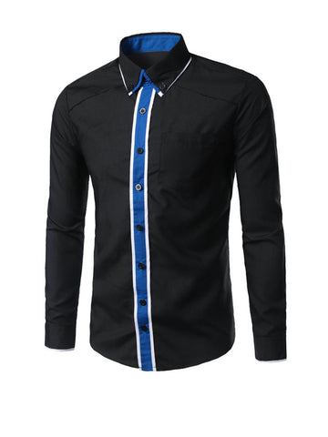 Color Block Men Shirt With Button Down Collar - Bychicstyle.com