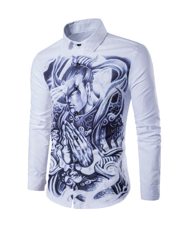 Stylish Turn Down Collar Printed Men Shirt - Bychicstyle.com