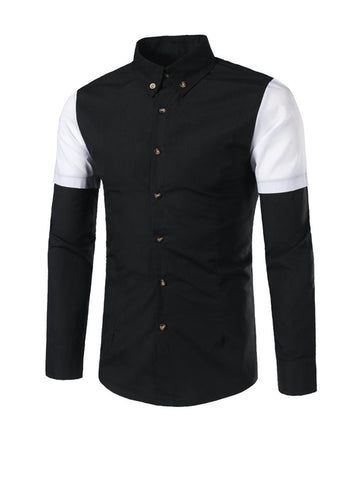 Trendy Color Block Men Shirt With Button Down Collar - Bychicstyle.com