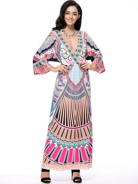 Deep V-Neck Tribal Printed Kimono Sleeve Maxi Dress - Bychicstyle.com