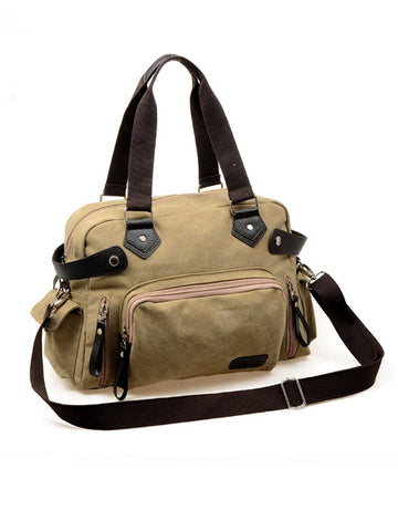 Canvas Multi Pocket Crossbody Handbag - Bychicstyle.com