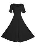 ByChicStyle Sweet Heart Pleated Bodice Plain Skater Dress - Bychicstyle.com