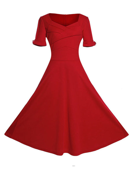 Sweet Heart Pleated Bodice Plain Skater Dress - Bychicstyle.com
