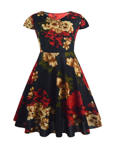 Short Sleeve Floral Printed Skater Dress - Bychicstyle.com