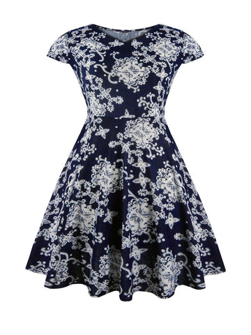 Casual Awesome Round Neck Printed Skater Dress