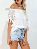 ByChicStyle Off Shoulder Hollow Out Plain Tie Short Sleeve T-Shirt - Bychicstyle.com