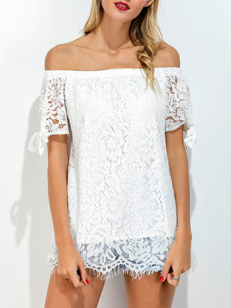 Off Shoulder Hollow Out Plain Tie Short Sleeve T-Shirt - Bychicstyle.com