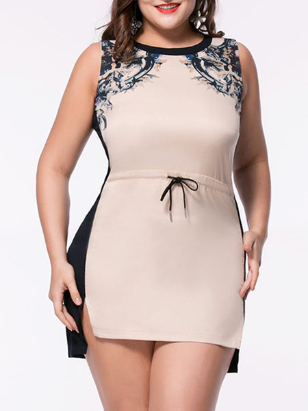 Printed Drawstring Plus Size Bodycon Dress - Bychicstyle.com