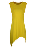 ByChicStyle Casual Asymmetric Hem Solid Round Neck Bodycon Dress