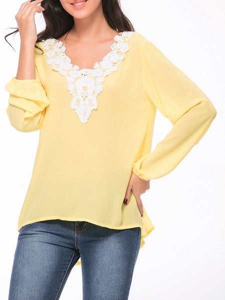 High-Low V-Neck Decorative Lace Vented Blouse - Bychicstyle.com