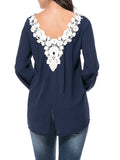 ByChicStyle High-Low V-Neck Decorative Lace Vented Blouse - Bychicstyle.com